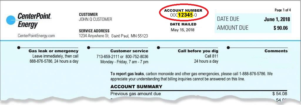 Center Point Number >> Create New Customer Account